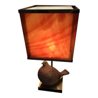 AMAZING ITALIAN MODERNIST CERAMIC PARTRIDGE WITH TORTOISE SHELL LUCITE SHADE For Sale