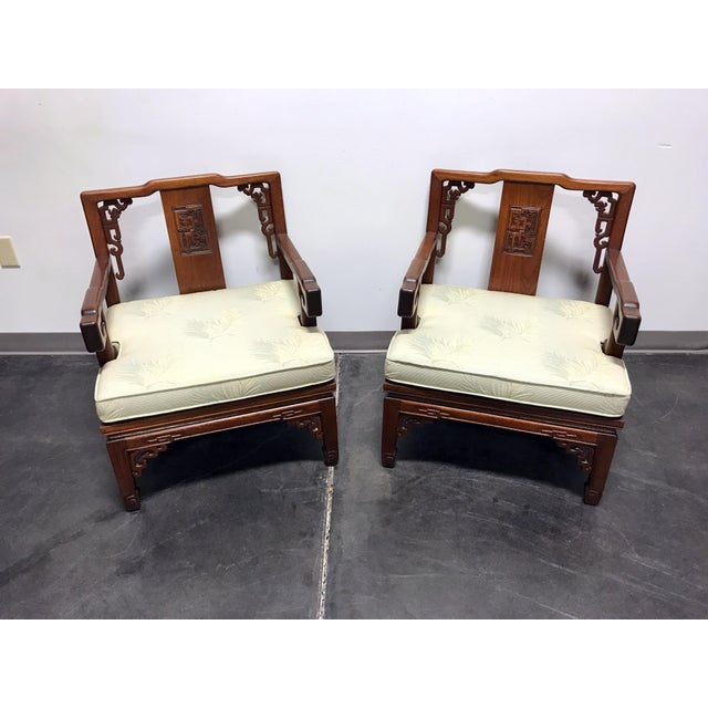 Chinoiserie Asian Korean Carved Mahogany Lounge Chairs - Pair For Sale - Image 3 of 11