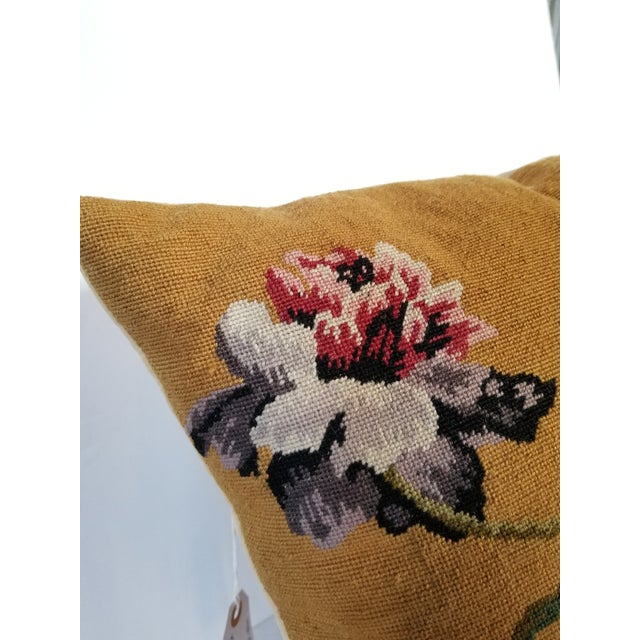 Mid 20th Century Vintage Needlepoint Floral Pillows - a Pair For Sale - Image 5 of 11