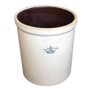 Robison Ransbottom Rustic Blue Crown 6 Gallon Salt Glazed Crock For Sale