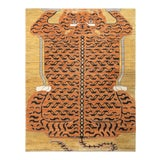 Image of Handknotted Regal Geometric Tiger Rug, Wheat Gold, 9'x14' For Sale