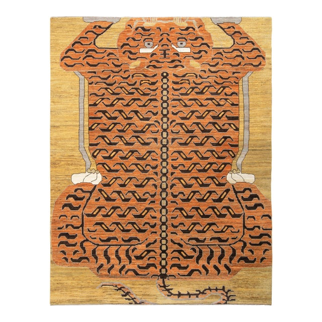 Handknotted Regal Geometric Tiger Rug, Wheat Gold, 9'x14' For Sale