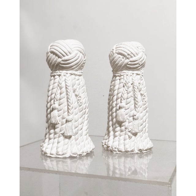 1970s Vintage Rope & Tassel Candlesticks - a Pair For Sale - Image 9 of 9