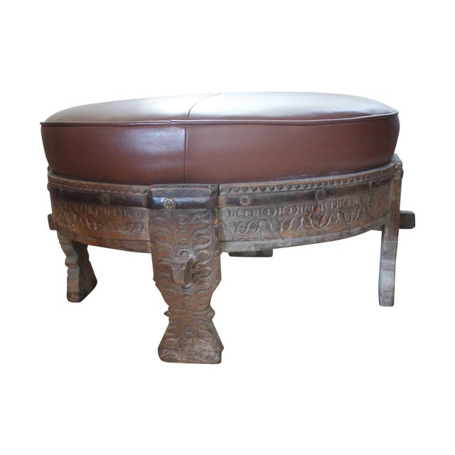 Moroccan Carved Tribal Wood Ottoman - Image 1 of 6