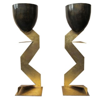 Iron & Zig Zag Table Lamps - A Pair