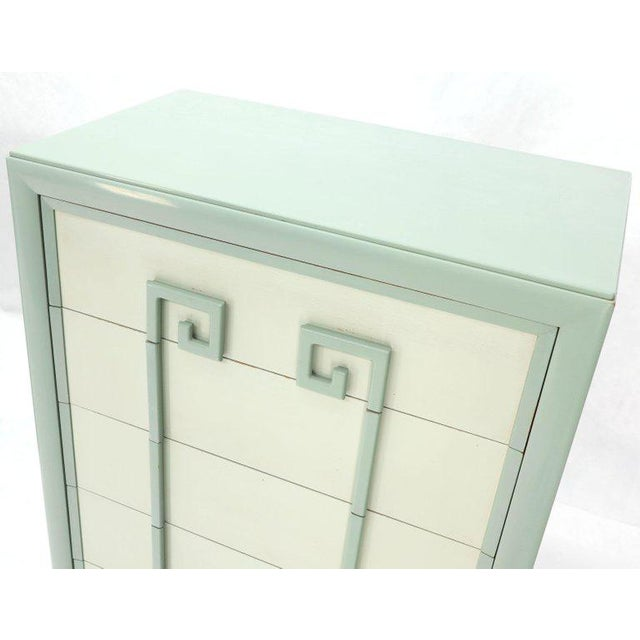 Teal Kittinger Mandarin Chest Dresser Blue and White Lacquer Five Drawers - a Pair For Sale - Image 8 of 13