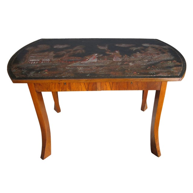 An Austrian Secessionist Walnut Center Table w/Chinoiserie Top For Sale