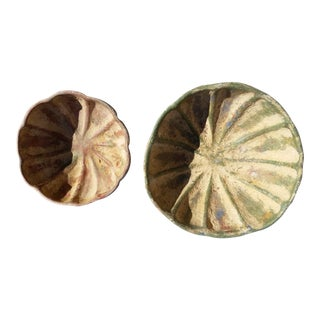 Antique Fluted Clay Bowls - A Pair For Sale