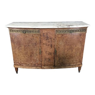 Directoire French Burled Walnut and Marble Buffet For Sale