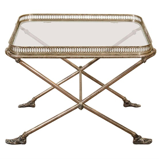 Modern Italian glass top detachable tray table with silvered bronze X- base frame. The piece is supported by Roman...