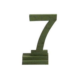 Vintage Green Number 7 on Stand For Sale