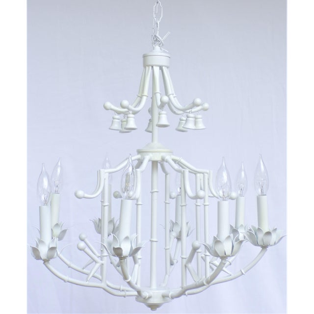 Large Palm Beach Regency Pagoda Faux Bamboo White Chandelier - 8 Arms For Sale - Image 9 of 12
