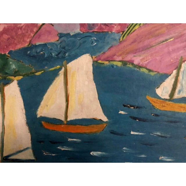 Charming original sailboat painting with a interesting play of color. Original frame