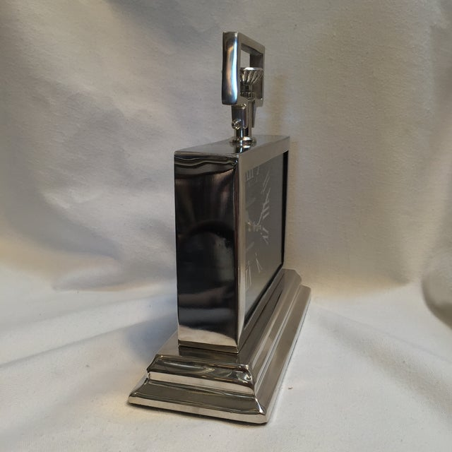 Black Rectangular Chrome Mantle Clock For Sale - Image 4 of 6