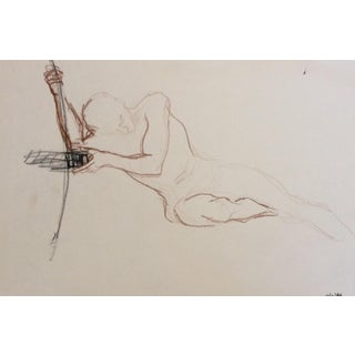 Posing Male Nude Studio Drawing, 1980s For Sale