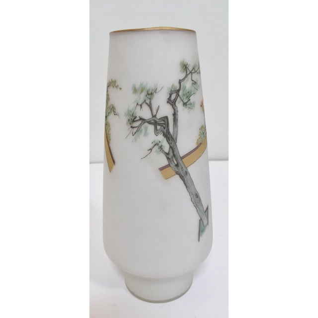 Metal Japanese Opaline White Glass Vase Hand Painted With Geishas For Sale - Image 7 of 11