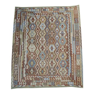 "Afghani Vegetable Dyed Wool Kilim Rug - 9'2"" X 10'10"" For Sale"