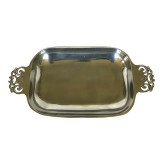 Contemporary Nambe Silver Metal Tray With Scroll Handles For Sale
