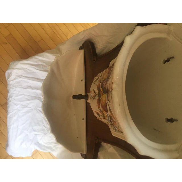 Italian Lavabo, Ceramic Mounted on Wood For Sale In Los Angeles - Image 6 of 13