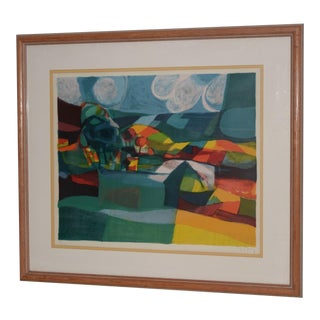 "Marcel Mouly (1918-2008) ""Rolling Hills"" Landscape Color Lithograph S/N For Sale"