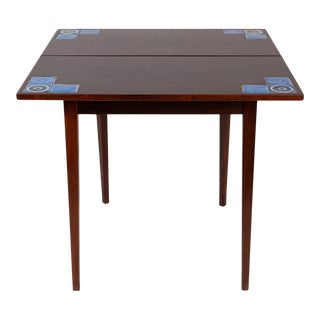 Danish Modern Illums Bolighus Rosewood and Blue Tile Folding Table For Sale