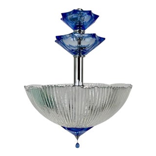 Semi Flush Blue and Frosted White Cut Glass Light For Sale