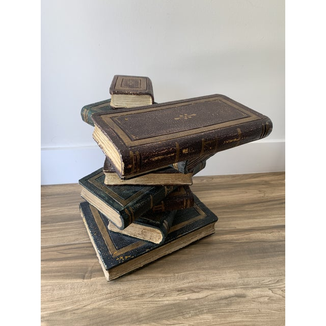Tromp L'oeil stack of books drinks table or side table. Some natural cracking in wood adds to charm. Cute table for...