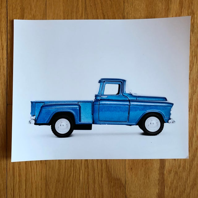 Americana Photograph of Vintage Blue Truck For Sale - Image 3 of 3