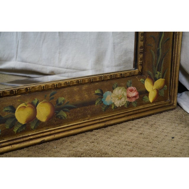 Floral Hand Painted Gilt Frame Beveled Wall Mirror For Sale - Image 9 of 10