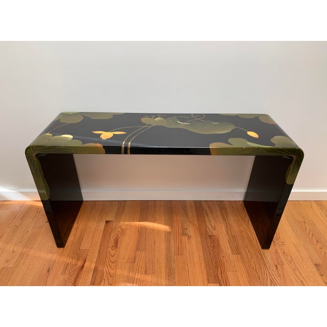 Final Markdown 1970s Asian Modern Lacquered Lily Pad and Lotus Leaf Waterfall Console Table For Sale - Image 12 of 12