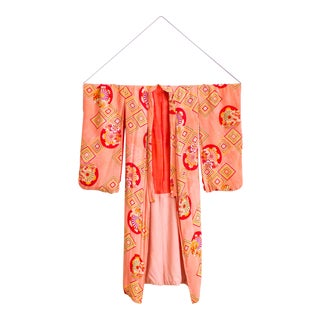 Japanese Ceremonial Kimono | Raw Silk Hand Stitched Coral Pink For Sale