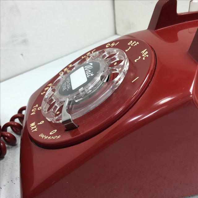Western Electric Red Rotary Dial Telephone For Sale - Image 10 of 11