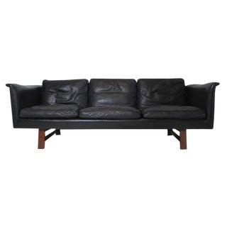 Danish Mid-Century Black Leather Sofa by Aarhuspol