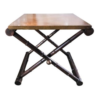 Mid Century X Base Faux Bamboo Side Table For Sale