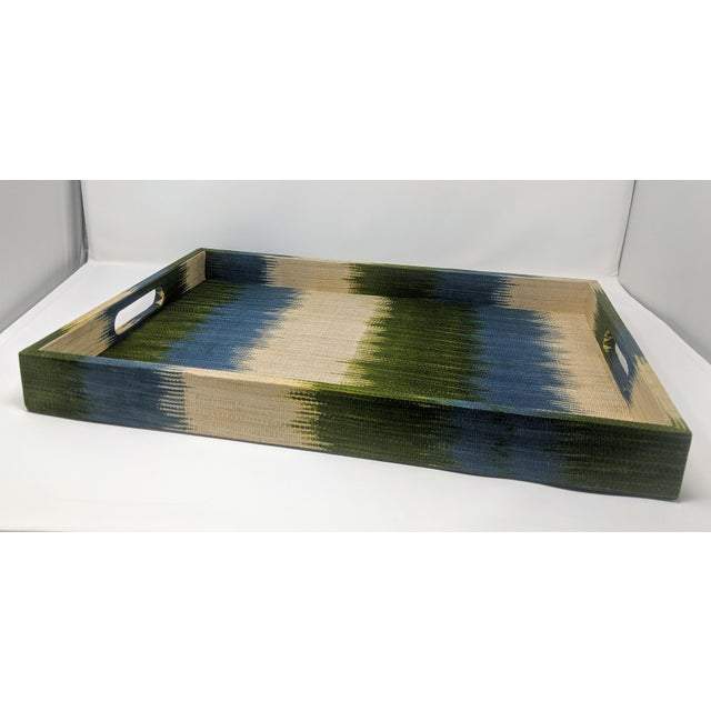 Wood Made Goods Emily Tray in Turquoise T'nalak Fabric For Sale - Image 7 of 13