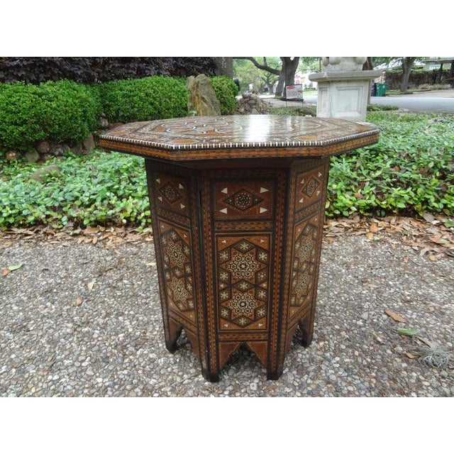 Antique Middle Eastern Arabesque Style Mother of Pearl Inlaid Table For Sale - Image 10 of 13