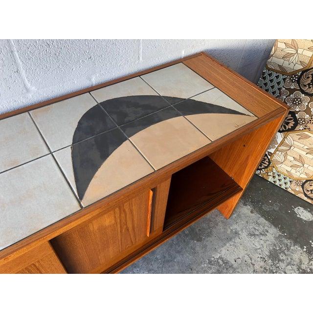 Vintage Mid Century Danish Modern Artist Signed Tile Top Credenza by Gangso Mobler. For Sale - Image 12 of 13