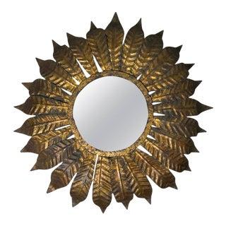 Spanish Gilt Metal Flush Mount Sunburst Ceiling Fixture For Sale