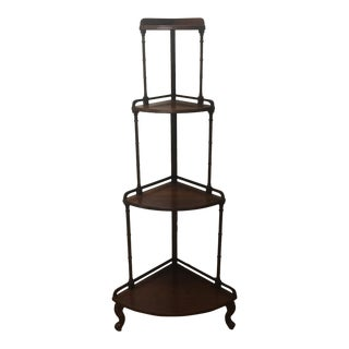 Antique Wellington Hall Four Tier Corner Shelf Étagère For Sale