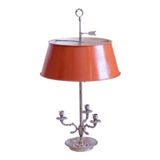 Early 20th Century Silver French Bouillotte Lamp With Terracotta Orange Tole Shade For Sale