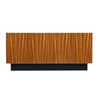 Milo Baughman for Thayer Coggin Zebra Wood Credenza Cabinet With Wall-Mount For Sale
