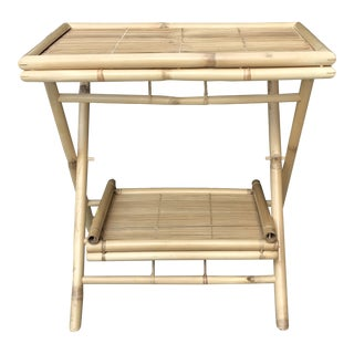 Vintage Hollywood Regency Rattan Folding Tray Table For Sale
