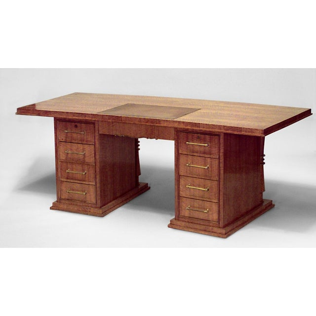 French Art Deco large mahogany kneehole desk with bronze column design trim and leather top (JULES LELEU)