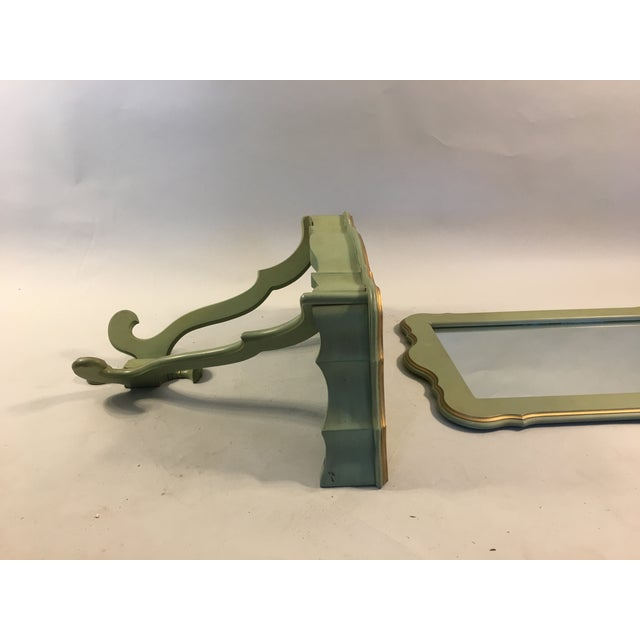 Shabby Mint Green Foyer Demilune Table Wall Shelf & Mirror - A Pair - Image 9 of 9