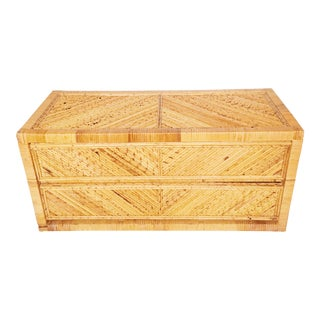 Vintage Pencil Reed Bamboo Chest