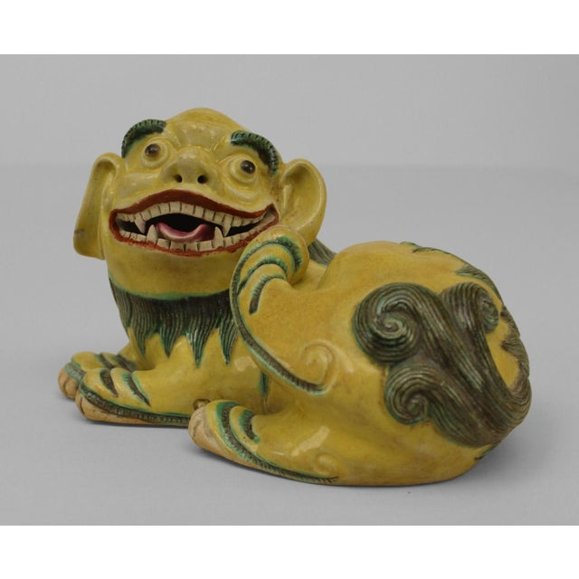 Asian Asian Chinese Green and Yellow Small Porcelain Reclining Foo Dog Figures- A Pair For Sale - Image 3 of 4