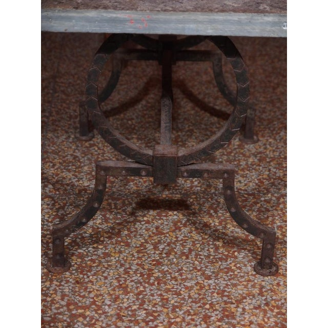 French Wrought Iron and Stone Top Coffee Table - Image 6 of 6