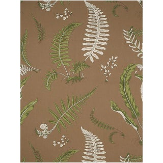 Scalamandre Elsie De Wolfe - Outdoor, Greens on Brown Fabric For Sale