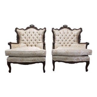 Vintage French Provincial Ivory Gold Brocade Lounge Chairs- A Pair For Sale