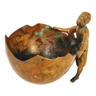 Vintage Bronze Metal Figurine Basket For Sale
